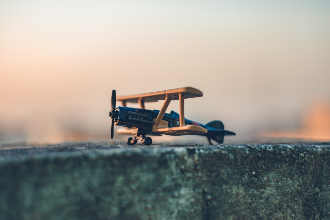 A toy plane prepares for takeoff