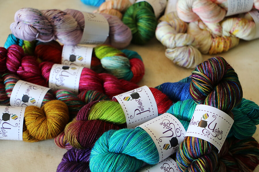 Johanna Miller's hand-dyed yarns from her home-based business, Potion Yarns