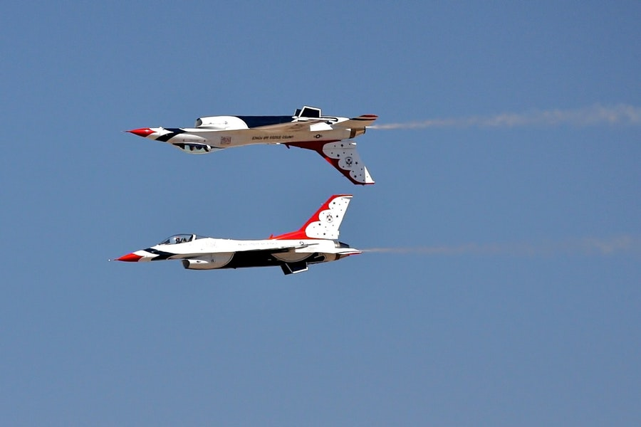 Two jets perform a technical maneuver