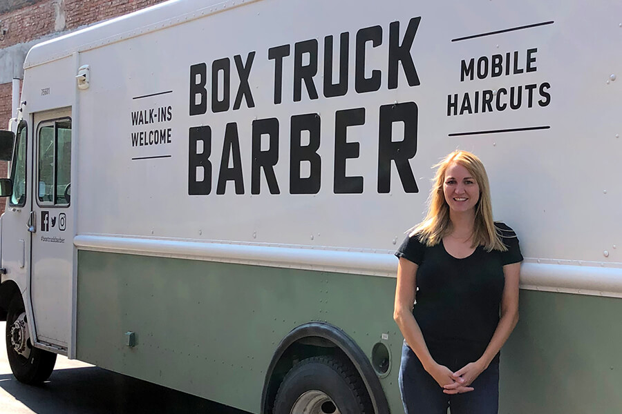 Bess Lamoreux Box Truck Barber Mobile Barber Shop