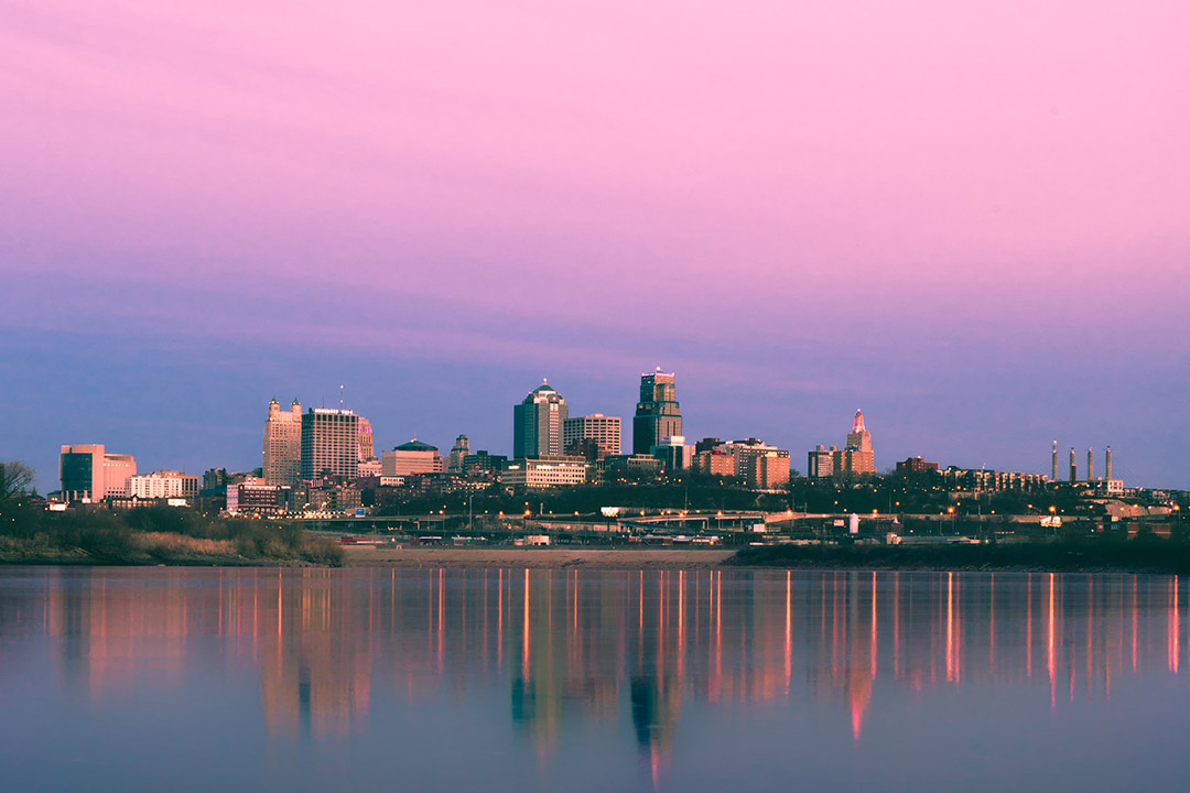 A view of Kansas City, Missouri, from the north, across the Missouri River
