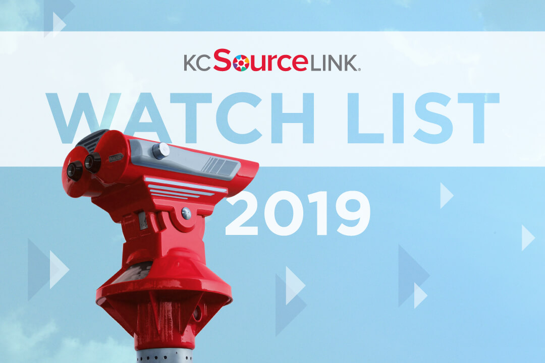 A red viewfinder in front of the text: Kansas City Watch List Startups And Small Businesses 2019