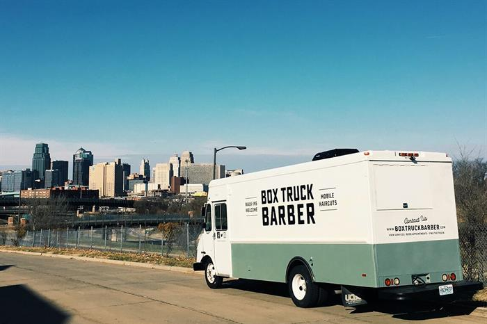 Box Truck Barber Truck Kansas City skyline
