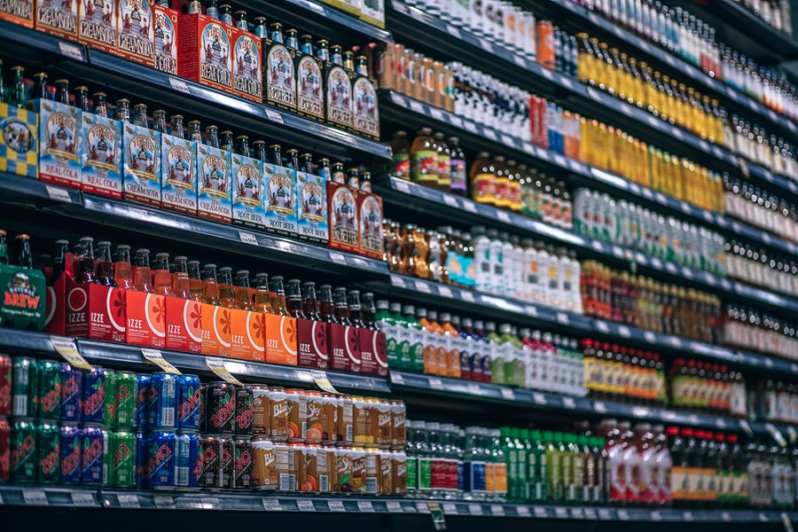 Beverages and food products at a grocery store