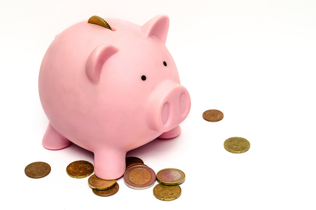A piggy bank surrounded by coins
